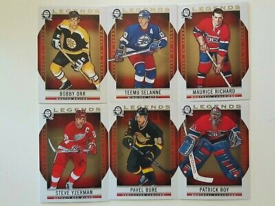 Lot of 6 2018-19 O-Pee-Chee Coast to Coast-LEGENDS-ORR+ROY+YZERMAN+RICHARD+BURE