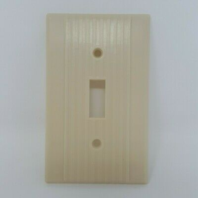 Vintage Leviton Light Switch Plate Cover Art Deco Ribbed Lines Ivory Bakelite