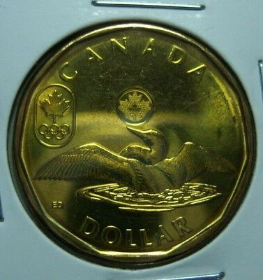 Brilliant Uncirculated 2014 Canada Lucky Loonie Sochi Olympic Ref#464