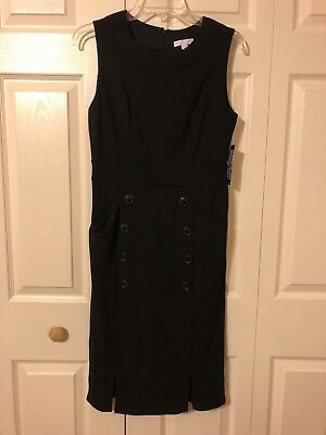 New York & Company Solid Black Sheath Dress with Button Accents S NWT