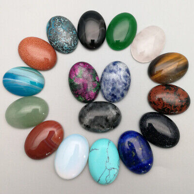 Mixed Natural Stones Beads 25x18mm oval cab cabochon for jewelry making 20pcs