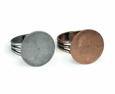 Antique Copper and Antique Silver Ring Blanks with 16mm Flat Adjustable Ring ...