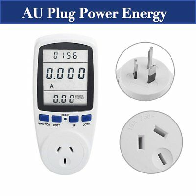 Power Meter Energy Monitor Plug-in Electric KWH Watt Volt Monitor Socket 2R