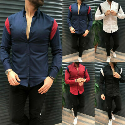 CA Men Slim Fit Casual Shirts Tops Blouse V-Neck Long Sleeve Muscle Tees T-shirt