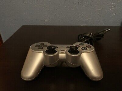 Official Sony PlayStation 2 PS2 Analog DualShock Controller Silver SCPH-10010