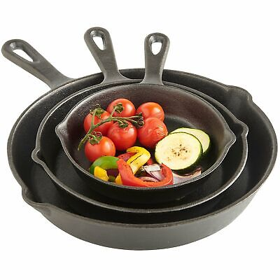 VonShef Pre Seasoned Non Stick Cast Iron Sauce Pan and Skillet Set Great for F..