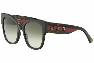 Gucci Women's GG0059S GG/0059/S 001 Black/Havana/Red Square Sunglasses 55mm