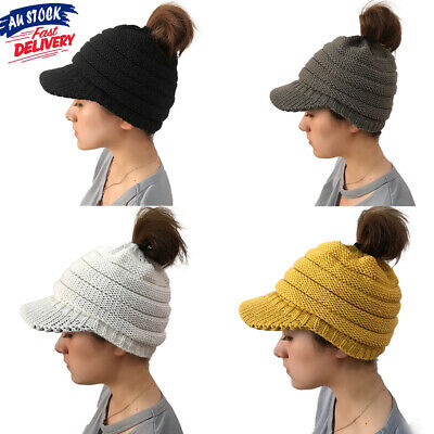 Women's Beanie Skull Cap High Bun Hat Ponytail Cable Knit Winter Stretch Soft