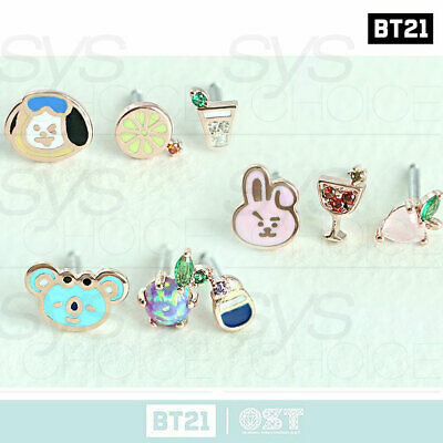 BTS BT21 Official Authentic Goods Silver Piercings by OST + Tracking Number