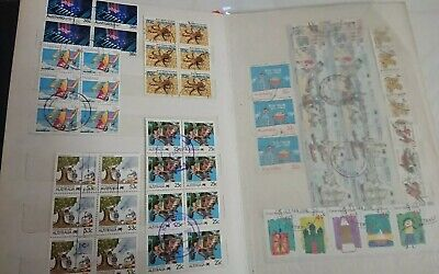 Stamp Album Of Australian Stamps Pairs,Blocks, Se-Tenant /Strips Used Off Paper