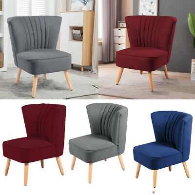 Upholstery Fabric Linen Oyster Wingback Chair Armchair Club Bedroom Chairs Seat
