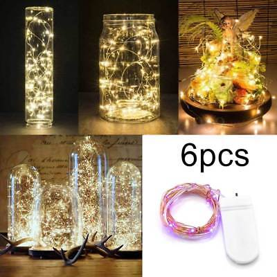 6 Pack 20 LED Battery Micro Rice Copper Wire Fairy String Light Party Xmas Decor