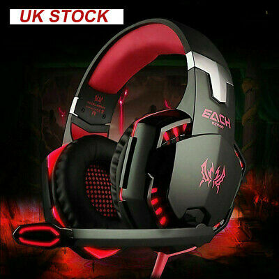 NEW 3.5mm Red Gaming Headset Mic RED LED Headphones Stereo for Laptop UK