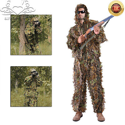 Leaf Ghillie Suit Camo Woodland Camouflage Forest Hunting (COAT & PANTS ONLY)