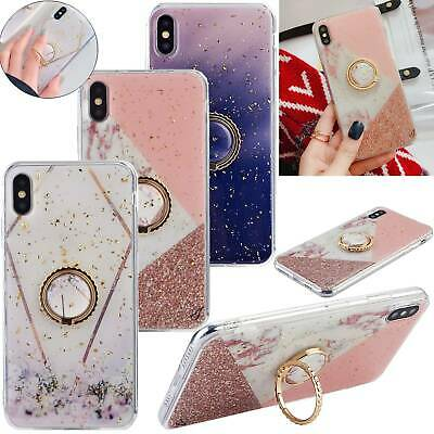 For iPhone 8 7 6s Plus XS Max XR Marble Case Shockproof Silicone Cover Kickstand