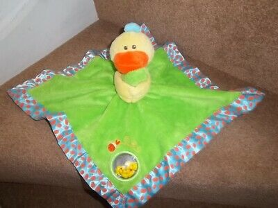 Playgro Green Yellow Duck Chick Baby Comforter Blanket Soft Toy Rattle Mirror
