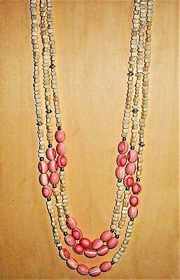 "Three Stranded 30"" Necklace Off White Apricot and Silver Beads Old Fashion Clasp"
