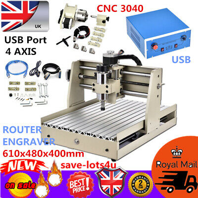 USB 4 Axis Engraver CNC 3040 Router Engraving Milling 3D Cutting Machine UK