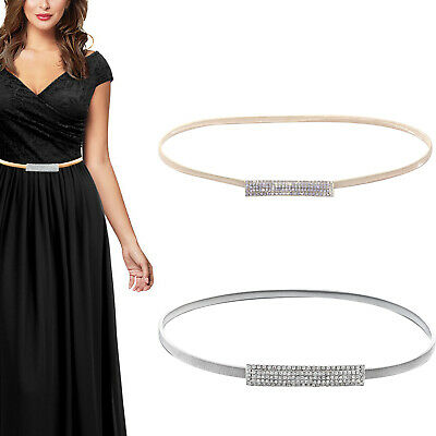 Gold Silver Women Wedding Diamond Snake Chain Strachable Waist Belt Metal Buckle