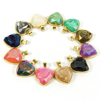 Multi Color Titanium Faceted Nautral Druzy Crystal Agate Gemstone Heart Pendant