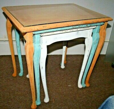 Nest of Tables Side Tables Mid Century Vintage Chalk Paint Glass Top Up-cycled
