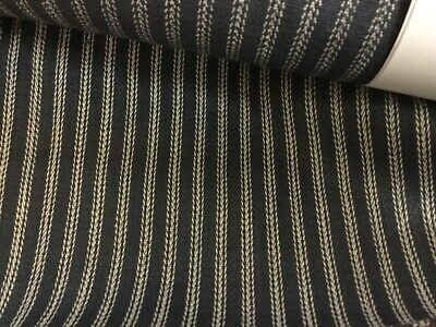 Yellow and White 140cm Ticking Fabric Stripes Navy T6