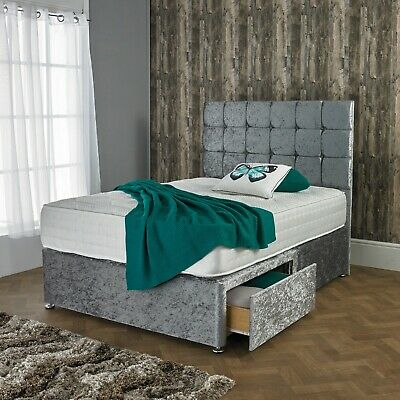 "New Crushed Velvet Divan Bed Set With Orthopedic Mattress And Free 20"" Headboard"