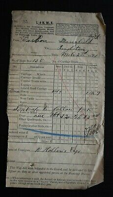 Railway Way Bill London & North Western Railway to MANSFIELD 1891