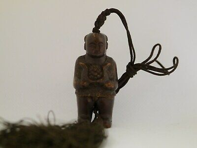 Vintage Chinese Carved Boxwood Pendant Necklace Of Boy Carrying Coals
