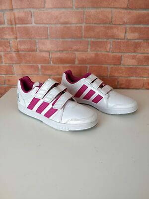 Girl's Kids Adidas White Pink 3 Strap Trainers Sneakers Uk 4 Eu 36.6 Shoes