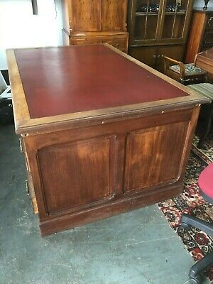 Large Antique Pedestal Writing Desk With Red Leather Top & 9 Drawers