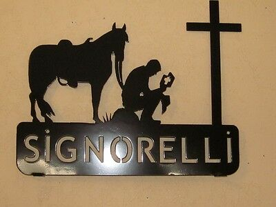 STEEL TEXTURED BLACK POWDER COAT TEAM ROPERS MAILBOX TOPPER YOUR NAME