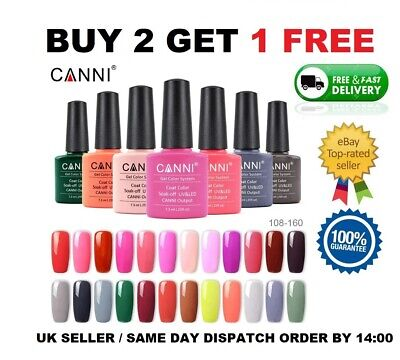 CANNI UV Nail Gel Polish Soak Off UV LED Colour Glitter Base Top coat Varnish