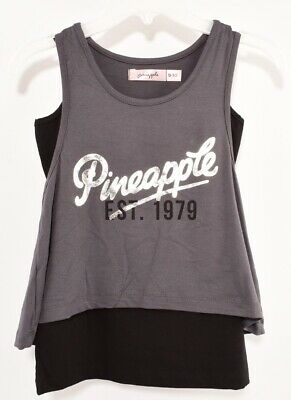 PINEAPPLE Girls' Dance Layered Tank Top, Grey/Black, size 9-10 years