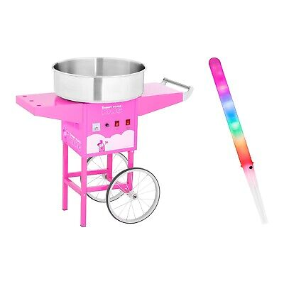 Candy Floss Machine Maker Set 100 Led Cotton Candy Sticks Cart Pink 52Cm 1200 W