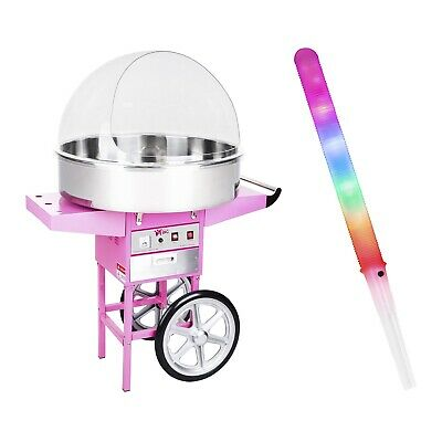 Candy Floss Machine Set 100 Led Cotton Candy Sticks Cart Sneeze Guard Xl 72Cm