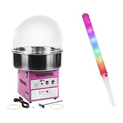 Candy Floss Machine Set 50 Led Candy Floss Sticks Sneeze Guard 52Cm Cotton Candy