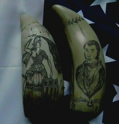 Faux Scrimshaw Freedom & Liberty Whaler Ship & The Flag Ship USS Lawrence