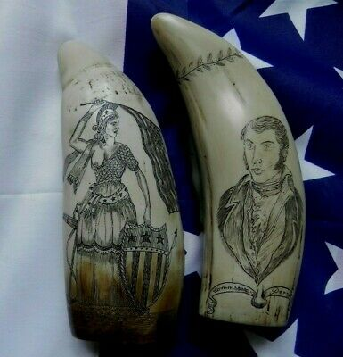 Faux Scrimshaw Freedom & Liberty Whaler Ship & The Ship USS Lawrence...Quality
