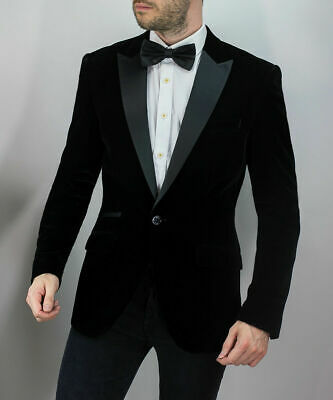 Mens Cavani Black Velvet Blazer Tuxedo Collar Formal Smart Dinner Party Jacket
