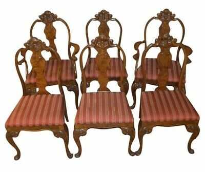 Vintage/Antique Set of Six Carved Walnut & Burl French Style Dining Chairs