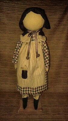 Primitive Decor Folk Art Prairie Doll Standing