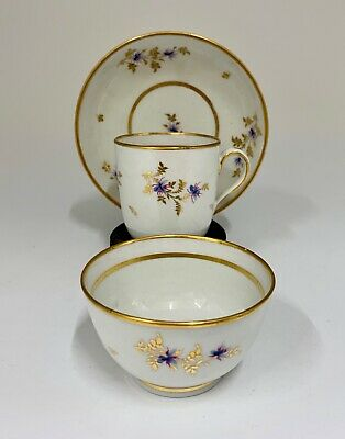 Antique Georgian English Porcelain Tea Cup Trio circa 1795