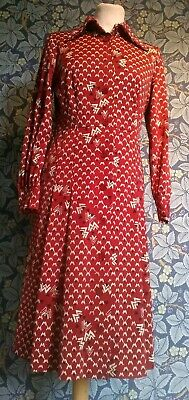 Vintage 1960s red shift Dress original mod scooter Gogo pleated button front