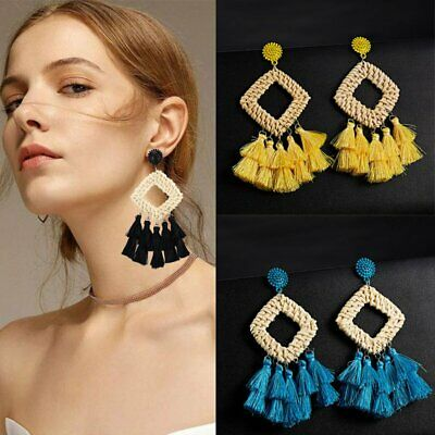 New Women Bohemian Earrings Long Tassel Fringe Boho Dangle Earrings Jewelry Gift