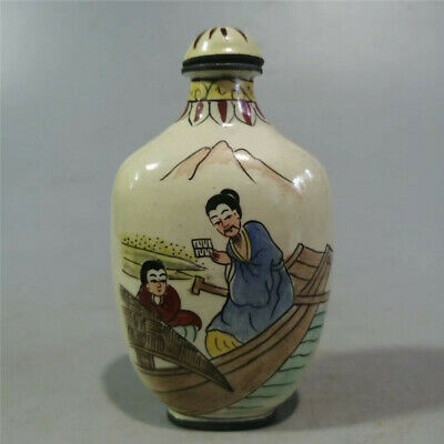 Collect Chinese Exquisite Cloisonne Hand-painted figure personage Snuff bottle