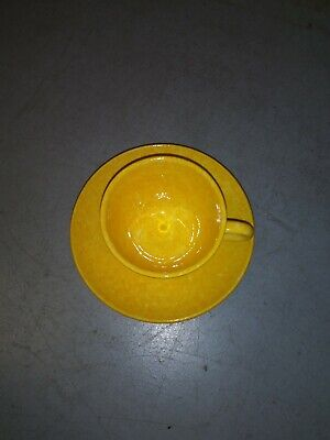 Stangl Pottery For Tiffany & Co. Yellow Caughley Pattern Set Plate/Tea cup Coffe