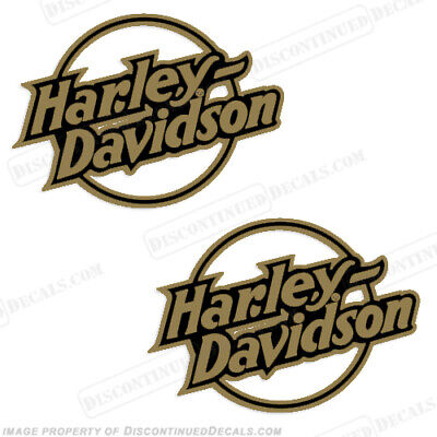 Harley-Davidson Fuel Tank Motorcycle Decals (Set of 2) - Style 11 - Gold