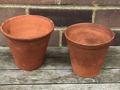 2 Sankey Bulwell Vintage Hand Thrown Old Clay Terracotta Plant Pots 14 x 13cm