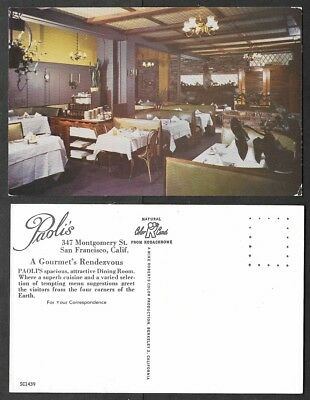 Old California Postcard - San Francisco - Paolis Restaurant - Dining Room